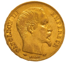 1860 20 French Francs - Napoleon III Bare Head - A