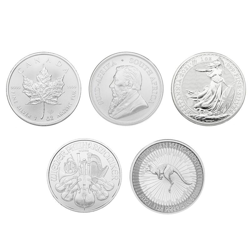 2021 1oz Silver Coin Set; Britannia, Maple, Philharmonic, Krugerrand, Kangaroo