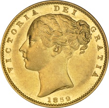 1852 Gold Sovereign - Victoria Young Head Shield Back- London NGC AU55