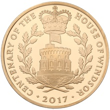 2017 - Gold £5 Proof Crown - House of Windsor Centenary Boxed