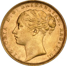 1885 Gold Sovereign - Victoria Young Head - London NGC AU58