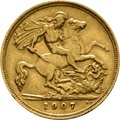 1907 Gold Half Sovereign - King Edward VII - M