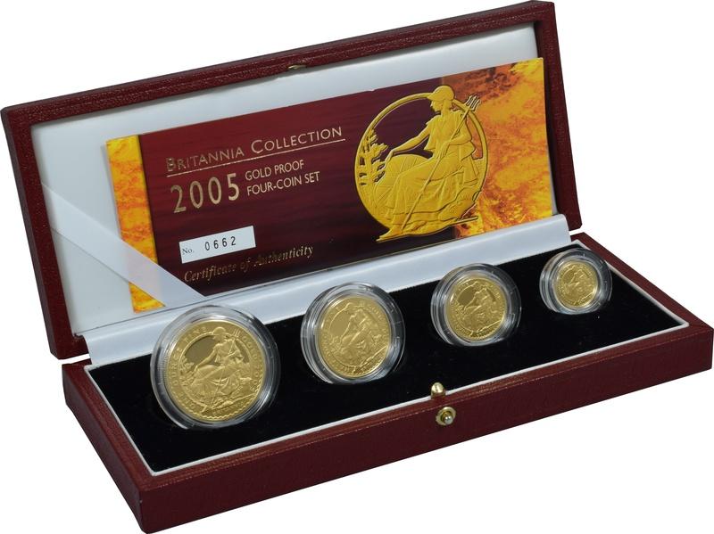 2005 Proof Britannia Gold 4-Coin Set Boxed