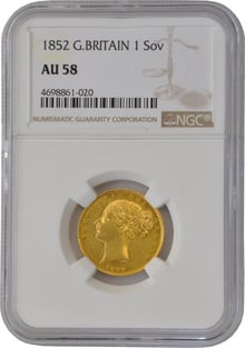 1852 Gold Sovereign - Victoria Young Head Shield Back- London NGC AU58