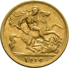 1910 Gold Half Sovereign - King Edward VII - S