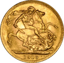 1916 Gold Sovereign - King George V - London NGC MS64