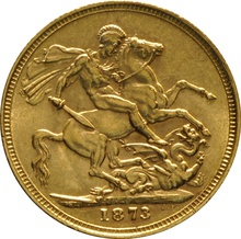 1873 Gold Sovereign - Victoria Young Head - M