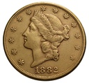 1882 $20 Double Eagle Liberty Head Gold Coin, San Francisco