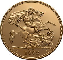 1992 - Gold £5 Brilliant Uncirculated Coin