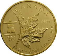 2008 1oz Canadian Maple Gold Coin Vancouver 2010 winter olympics