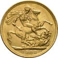 1908 Gold Sovereign - King Edward VII - London