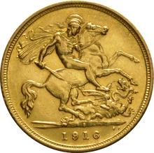 1916 Gold Half Sovereign - King George V - S