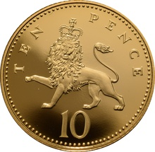 2008 Gold Proof 10p Ten Pence Piece - Crowned Lion