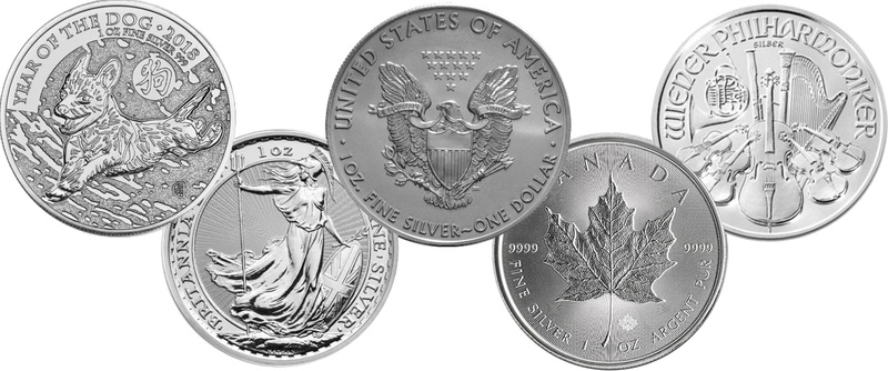 2018 1oz Silver Coin Set; Eagle, Maple, Brit, Phil, Dog