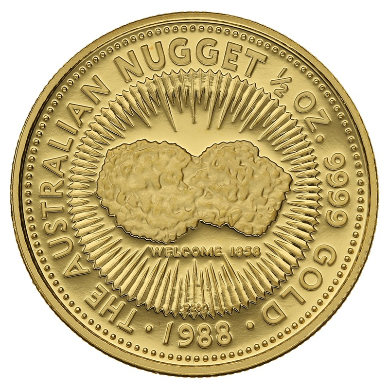 1988 Proof Half Ounce Gold Australian Nugget