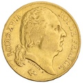 1824 20 French Francs - Louis XVIII Bare Head - A