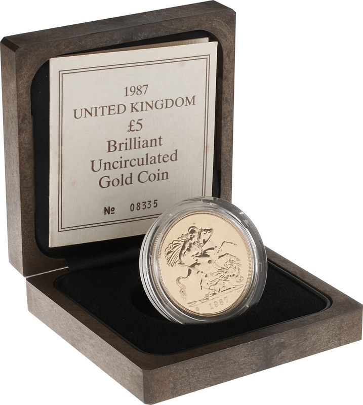 1987 - Gold £5 Brilliant Uncirculated Coin Boxed