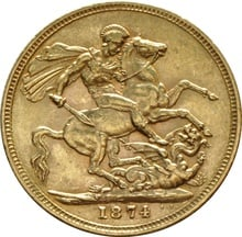 1874 Gold Sovereign - Victoria Young Head - M