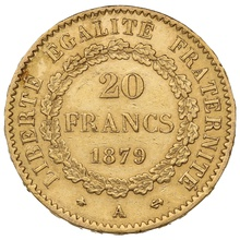 1879 20 French Francs - Guardian Angel - A