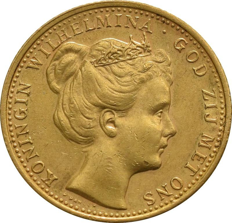 10 Guilders Netherlands Wilhelmina Coronet head 1898