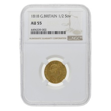 1818 George III Gold Half Sovereign Graded NGC AU55