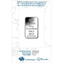 PAMP 50 Gram Platinum Bar Minted