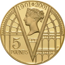 2001 - Gold £5 Proof Crown, 100th Victoria Anniversary Boxed