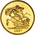1887 - Victoria Jubilee Gold Five Pound £5 Gold Coin NGC AU55