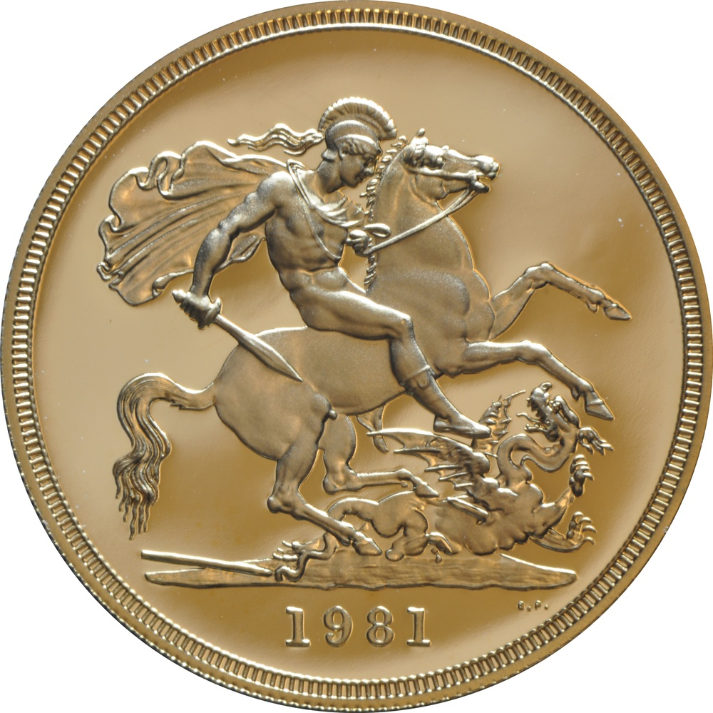 1981 - Gold £5 Proof Coin (Quintuple Sovereign) Boxed