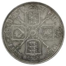 1887 Queen Victoria Silver Milled Florin Dies 1+A