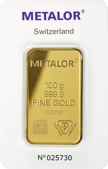 Minted Metalor 100 Gram Gold Bar