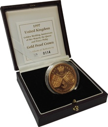 1997 - Gold £5 Proof Crown, Golden Wedding Anniversary of Her Majesty the Queen Boxed