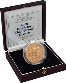 1990 - Gold £5 Proof Crown, Queen Mother 90th Birthday Boxed