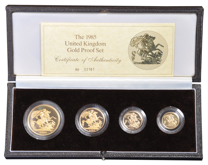 1985 Gold Proof Sovereign Four Coin Set Boxed