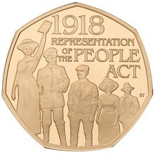 2018 Gold Proof Fifty Pence Representation of the People Act