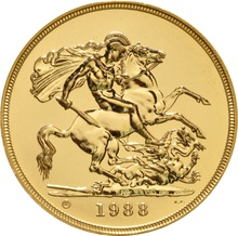 1988 - Gold £5 Brilliant Uncirculated Coin Boxed