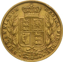 1872 Gold Sovereign - Victoria Young Head Shield Back - M