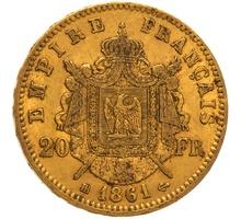 1861 20 French Francs - Napoleon III Laureate Head - BB