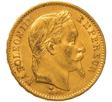 1868 20 French Francs - Napoleon III Laureate Head - A