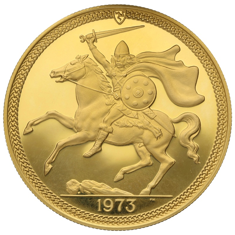 1973 - Gold £5 Proof Coin (Quintuple Sovereign) Isle Of Man