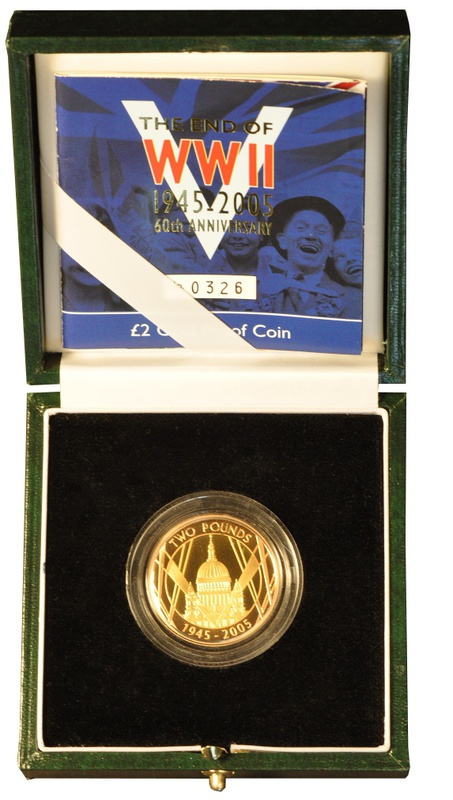 Gold Proof 2005 £2 Two Pound Coin: 60th Anniversary WWII Boxed
