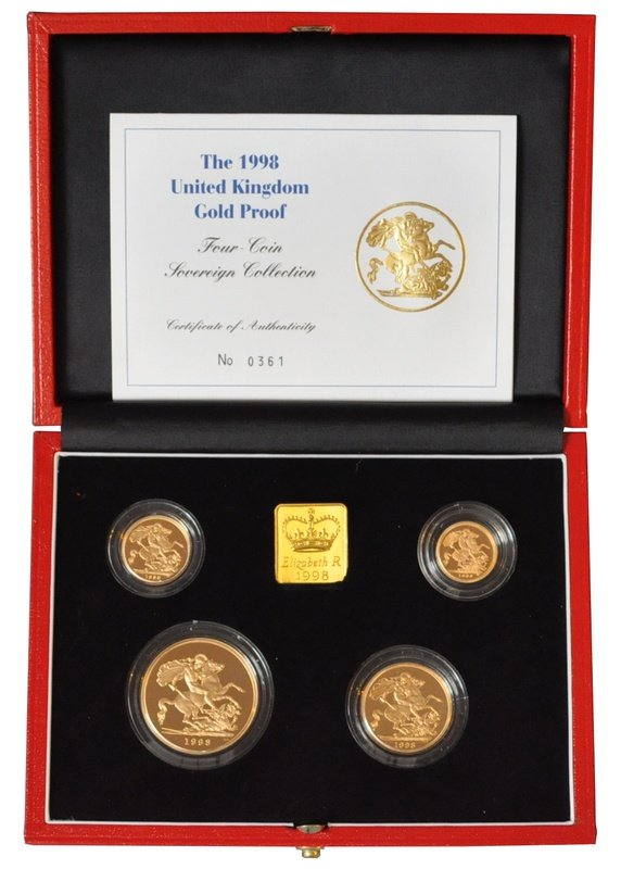 1998 Gold Proof Sovereign Four Coin Set Boxed