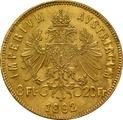 Gold Austrian 20 Francs 8 Florins