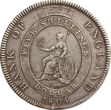 1804 George III Bank of England Dollar Silver Coin - Very Fine