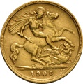 1906 Gold Half Sovereign - King Edward VII - M