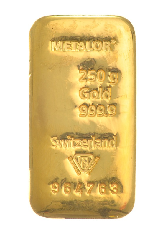 Metalor 250 Gram Gold Bar