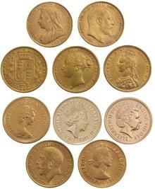 10 x Gold Sovereign Portrait Set