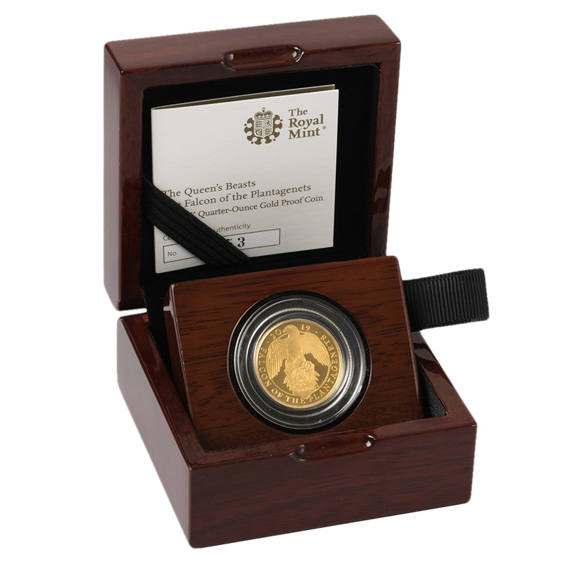 2019 1/4oz Quarter Ounce Proof Falcon Gold Coin Queen's Beasts Boxed