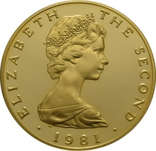 1981 - Gold £5 Proof Coin (Quintuple Sovereign) Isle Of Man Triskellion Boxed