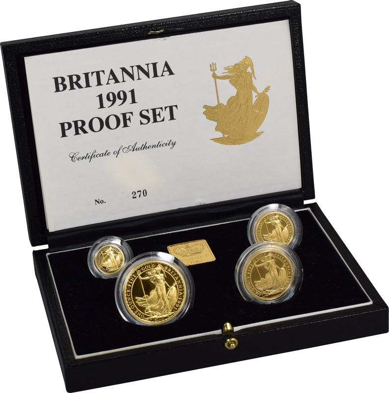 1991 Proof Britannia Gold 4-Coin Set Boxed